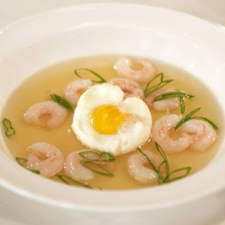 Prosciutto Consomme with Shrimp and Bacon-Poached Eggs