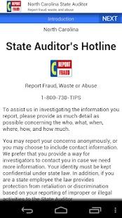 NC State Auditor Hotline- screenshot thumbnail