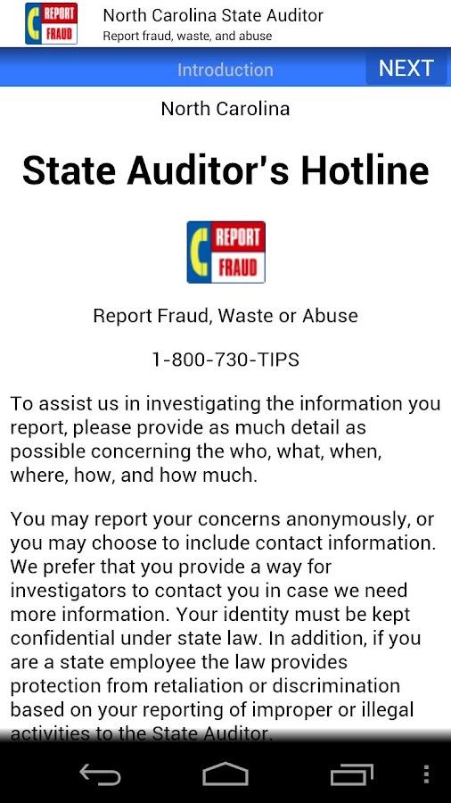 NC State Auditor Hotline- screenshot