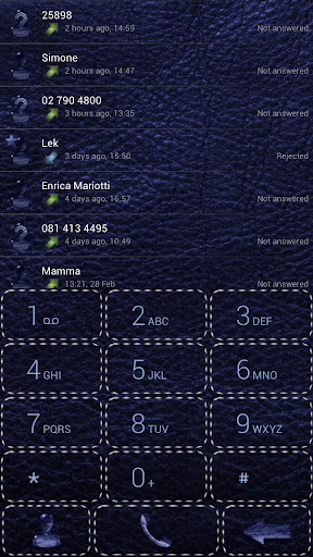 Dialer Leather Blue theme