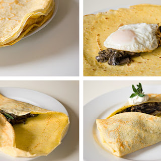 Cornmeal Crepes, Mushroom Ragout, Fried Egg