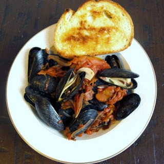 Mussels in Chorizo and Tomato Broth.