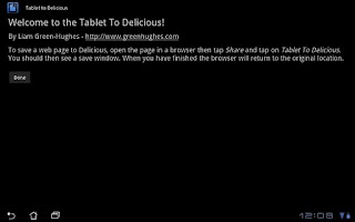 Screenshot of Tablet To Delicious