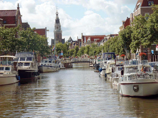 canaL-Alkmaar-Holland - One of the scenic canals of Alkmaar, north of Amsterdam in the Netherlands.