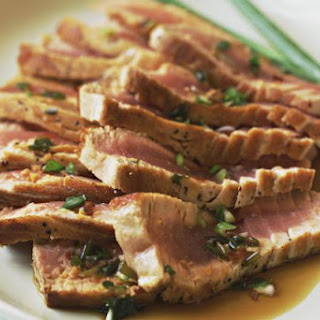 Spice-Rubbed Seared Tuna Steaks with Balsamic Reduction.