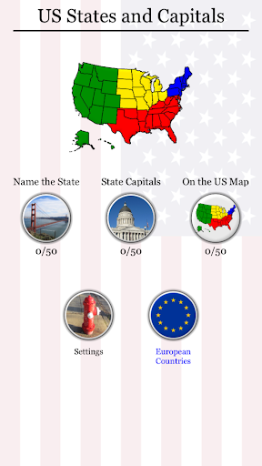 50 US States: Capitals Flags