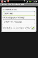 Screenshot of Locale SMS Plug-in (cupcake)
