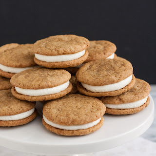 Ginger-Spice Sandwich Cookies with Lemon Cream Cheese Filling.