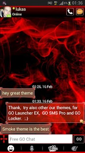 Red Smoke Theme GO SMS PRO- screenshot thumbnail