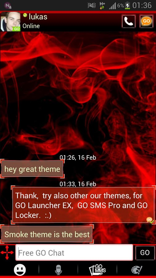 GO SMS Pro Theme Red Smoke - screenshot