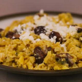 Scrambled Eggs with Sauteed Mushrooms and Feta.