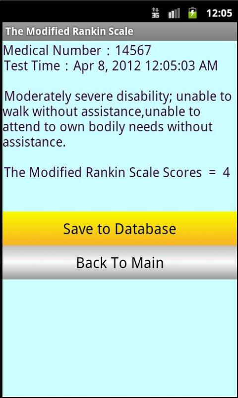 Modified Rankin Stroke scale - screenshot