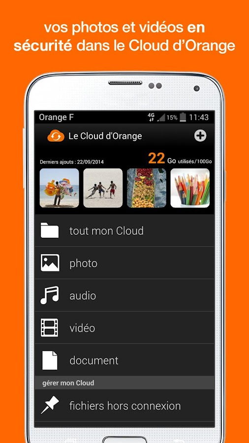 Le Cloud d'Orange – Capture d'écran