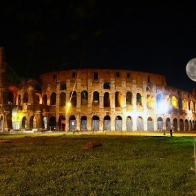 Colosseo full moon by Kristelle Matthew - Buildings & Architecture Statues & Monuments ( moon, sky, rome, fullmoon, dark, night, colosseo, italy, light, photography,  )