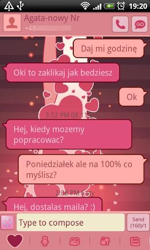 GO SMS Pro Bijou Hearts Theme