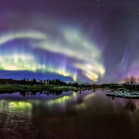 BOOM by Sigurður Brynjarsson - Landscapes Starscapes ( canon, water, reflection, park, bright, national, aurora, star, lake, shine, road, siggiphoto, panorama, island, northern, iceland, sky, tree, borealis, dark, night, light, thingvellir, reflect )