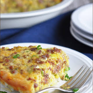 Hash Brown-Crusted Quiche with Sausage.