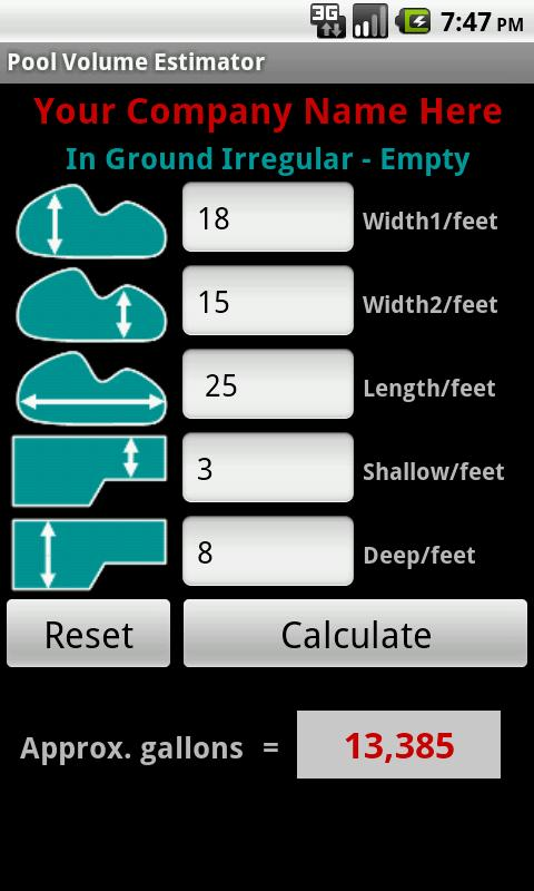 Pool volume calculator android apps on google play - How to calculate swimming pool volume ...