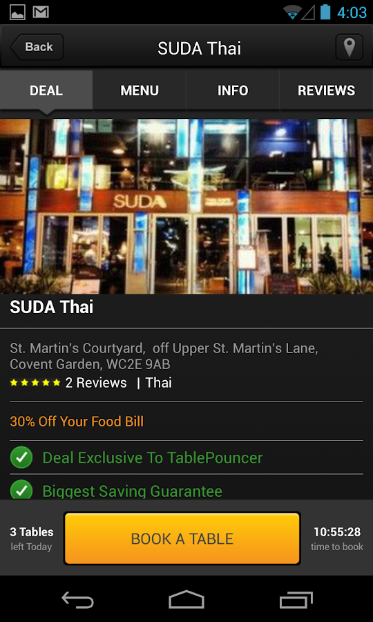 Tablepouncer uk dining deals android apps on google play for Table pouncer