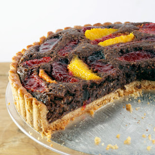 Blood Orange Chocolate Tart with Rye Flour Cardamom Crust