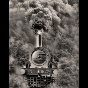 Eagle ! by Agha Ahmed - Black & White Objects & Still Life ( railway, engine, railroad, locomotive, steam train, train, smoke )
