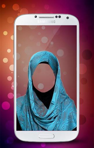 頭巾的婦女的照片套裝