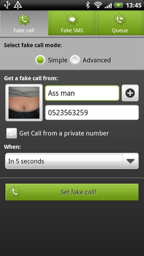 BOOM! Fake call and SMS Lite - screenshot
