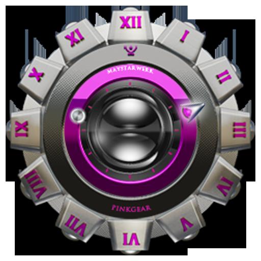 Clock Widget Pink Gear
