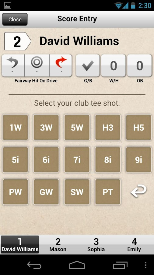 Golf Score Card - YOUR GOLF - screenshot