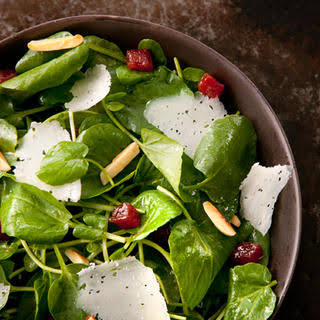 Watercress Salad with Manchego, Membrillo, and Almonds.