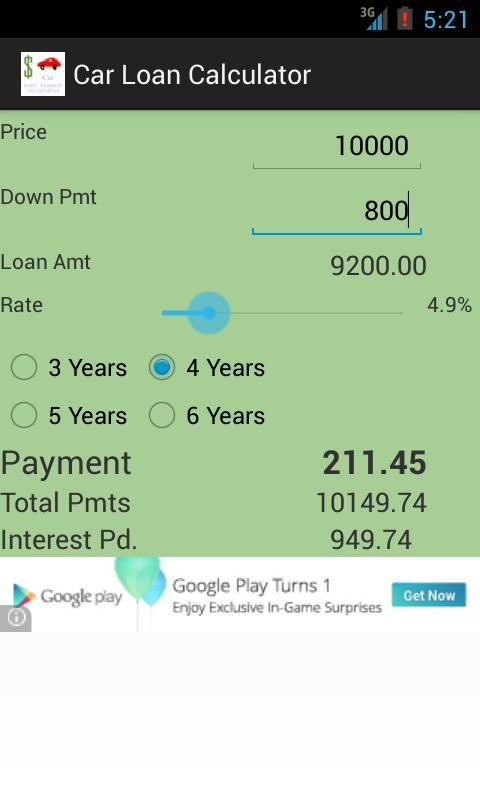 Car Loan Calculator App Android