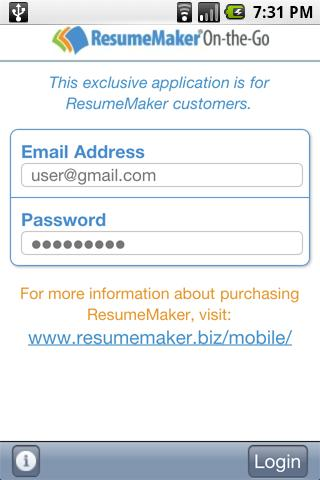 ResumeMaker On-the-Go - screenshot