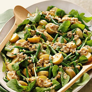 Arugula, Potato, and Green Bean Salad with Creamy Walnut Dressing.