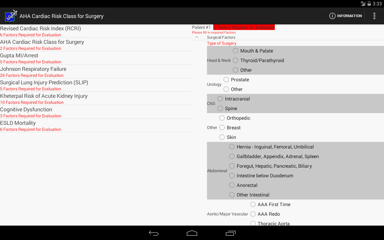 Preop Risk Assessment- screenshot