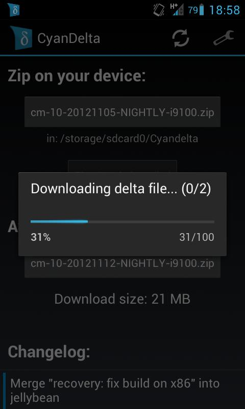 CyanDelta Updater - screenshot