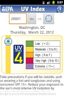 EPA's SunWise UV Index - screenshot thumbnail
