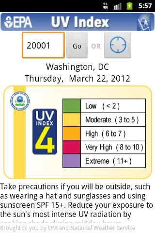 EPA's SunWise UV Index - screenshot