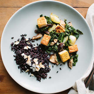 Tofu, Mustard Greens, and Shiitake Mushroom Stir-Fry.