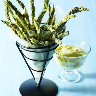 Green-Bean and Asparagus Fries with Dipping Sauce.