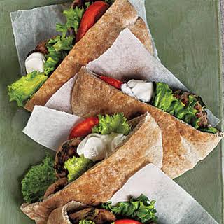 Turkey Burger Pitas with Tahini Sauce.