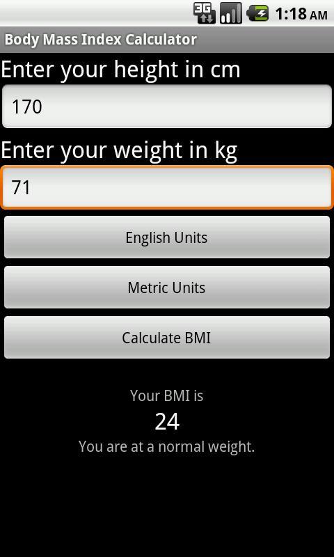 SapphApps BMI Calculator - screenshot