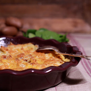 Gratin of Leeks, Bacon and Cheddar