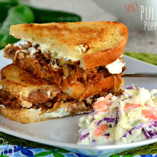Grilled Jalapeno Popper Pulled Pork Sandwiches.