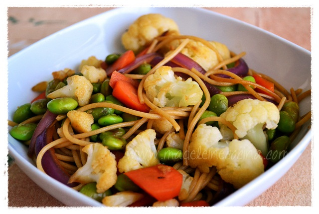 Spaghetti with Sauteed Vegetables and Beans Recipe