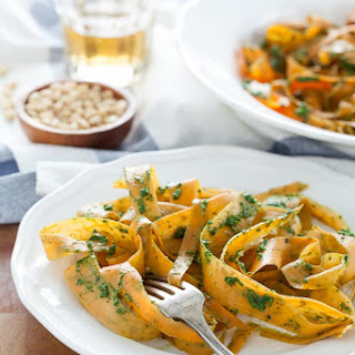 Sweet Potato Noodles with Kale Pesto.
