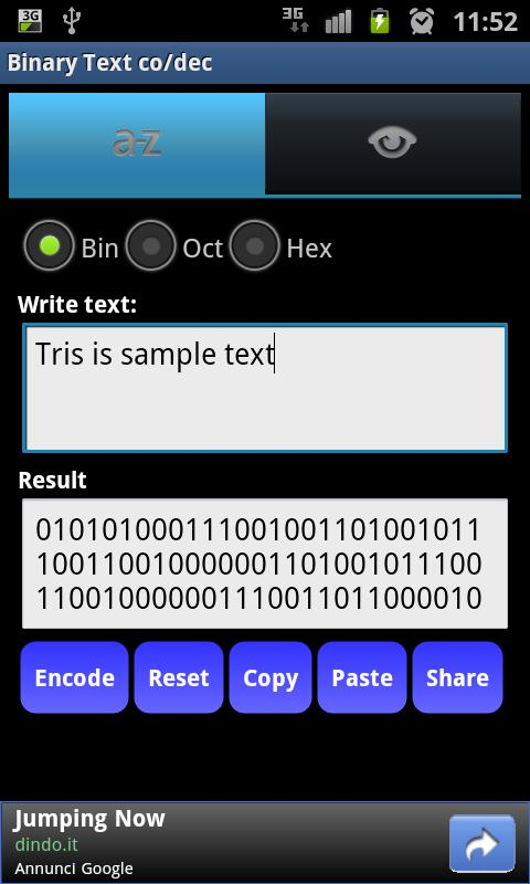 Binary Text co/dec Mobile- screenshot