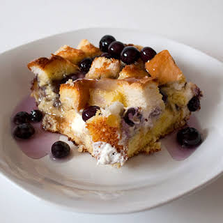 Overnight Blueberry French Toast with Blueberry Syrup.