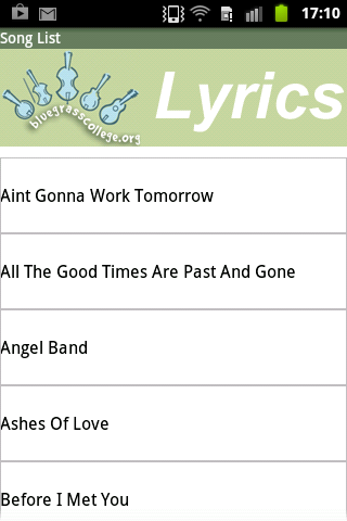 Bluegrass Song Lyrics - screenshot