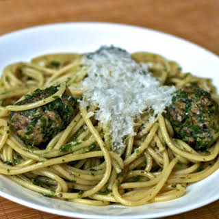 Pasta with Green Meatballs and Herb Sauce.