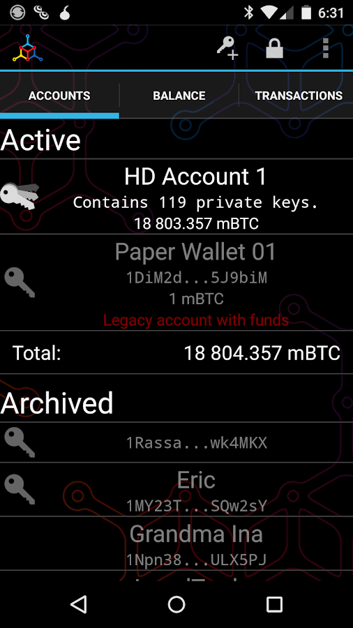 Mycelium Bitcoin Wallet- screenshot